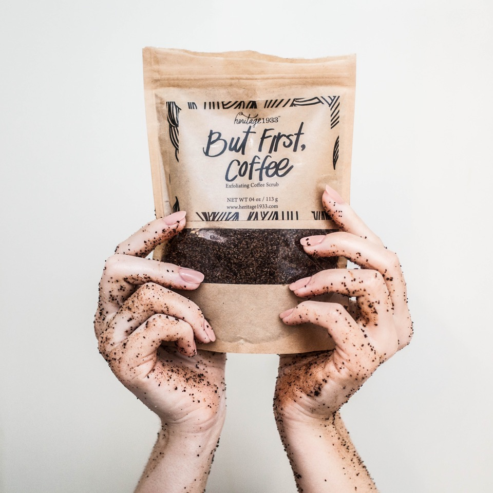 But First Coffee natural body scrub for glowing summer skin